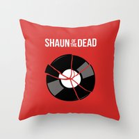 shaun of the dead Throw Pillows featuring Shaun of the Dead - Record by Nick Kemp