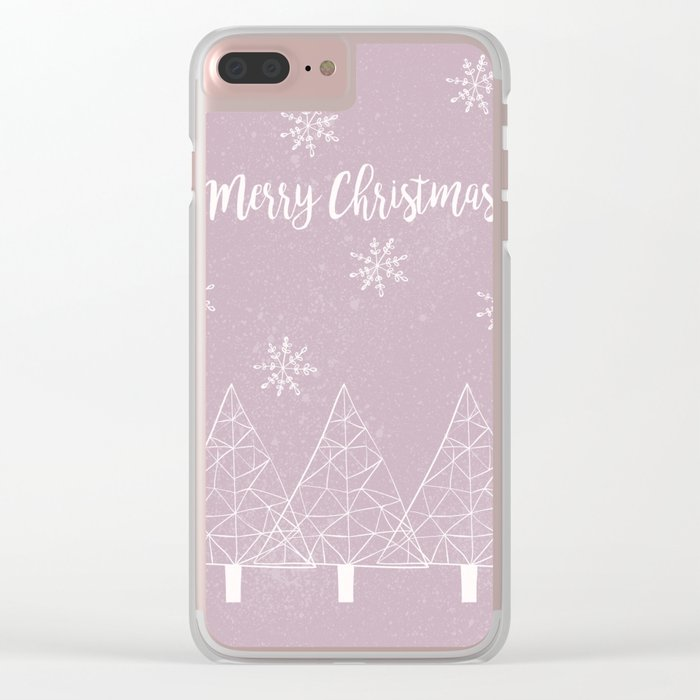 Merry Christmas Pink Clear iPhone Case