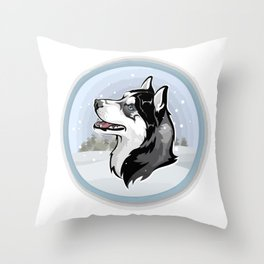 dog in snow Throw Pillow