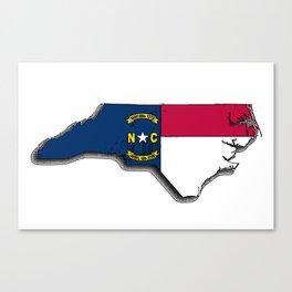 North Carolina Map with North Carolinian Flag Canvas Print