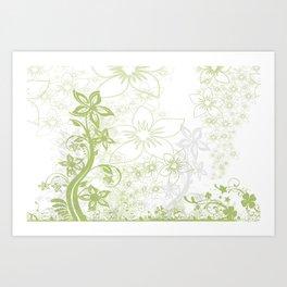 Flowers Curlicue Kringel Art Print