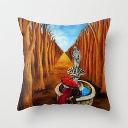 Couple amid the Twilight and the Idyll by Maria Izquierdo Throw Pillow