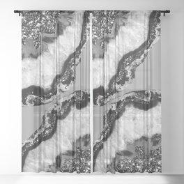 Yin Yang Agate Glitter Glam #6 #gem #decor #art #society6 Sheer Curtain