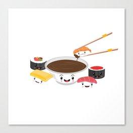 Cute Adorable Sushi Family Kawaii Japanese Sashimi Maki Nigiri Lover Gift Canvas Print