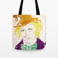 willy wonka Tote Bags featuring Wilder Wonka by Joshua A. Biron