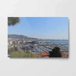 Cliffside view of the city of Cannes Metal Print