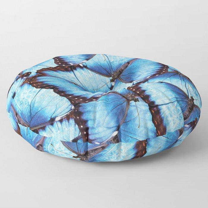 Blue Morpho Butterfly Floor Pillow