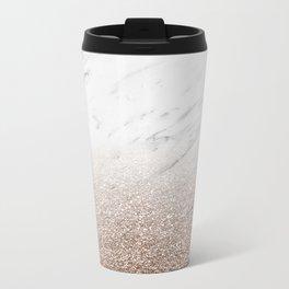 Glitter ombre - white marble & rose gold glitter Metal Travel Mug