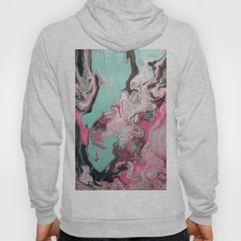 Fluid Art Acrylic Painting, Pour 1 - Pink, Black, White, Turquoise Hoody