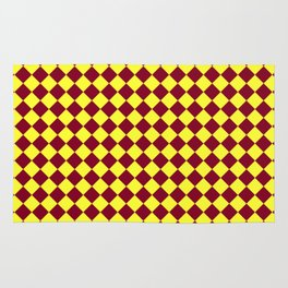 Electric Yellow and Burgundy Red Diamonds Rug