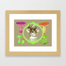 Lime Mushroom Princess Framed Art Print