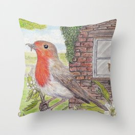 Robin Redbreast and Ginger Tom Throw Pillow