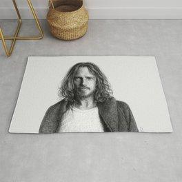 Chris Cornell tribute, black and white Rug