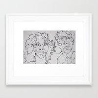 carl sagan Framed Art Prints featuring Carl Sagan and Ann Druyan by PigeonHouse