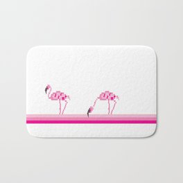 Pink flamingo pixel Bath Mat
