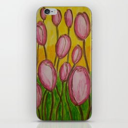 Pink abstract tulips iPhone Skin