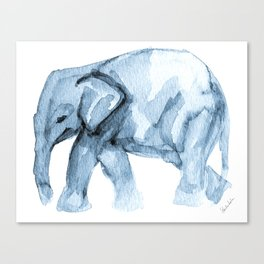 Elephant Sketch in Blue Canvas Print