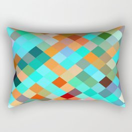 geometric square pixel pattern abstract in blue orange yellow brown green Rectangular Pillow