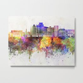 Fresno skyline in watercolor background Metal Print