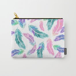 Pastel pink turquoise hand painted watercolor feathers pattern Carry-All Pouch
