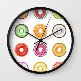 Colorful Fruit Donuts Collection Art, Sweet Fruity Donut Set, Delicious Large Printable Photography Wall Clock