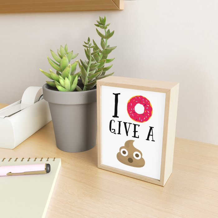 Donut Give A Sh*t Funny Quote Framed Mini Art Print