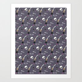"""Rum xoxo""Pirate pattern(dusty purple) Art Print"