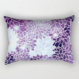 Space Dahlias Purple Ice Rectangular Pillow