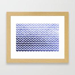 Glitter Sparkly Bling Chevron Pattern (blue) Framed Art Print