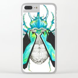 Geometric Drawing Silver and Blue Beetle Clear iPhone Case