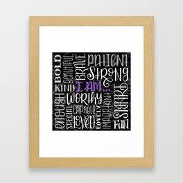 Funky Black Marbled Hand Lettered Positive Affirmations Framed Art Print