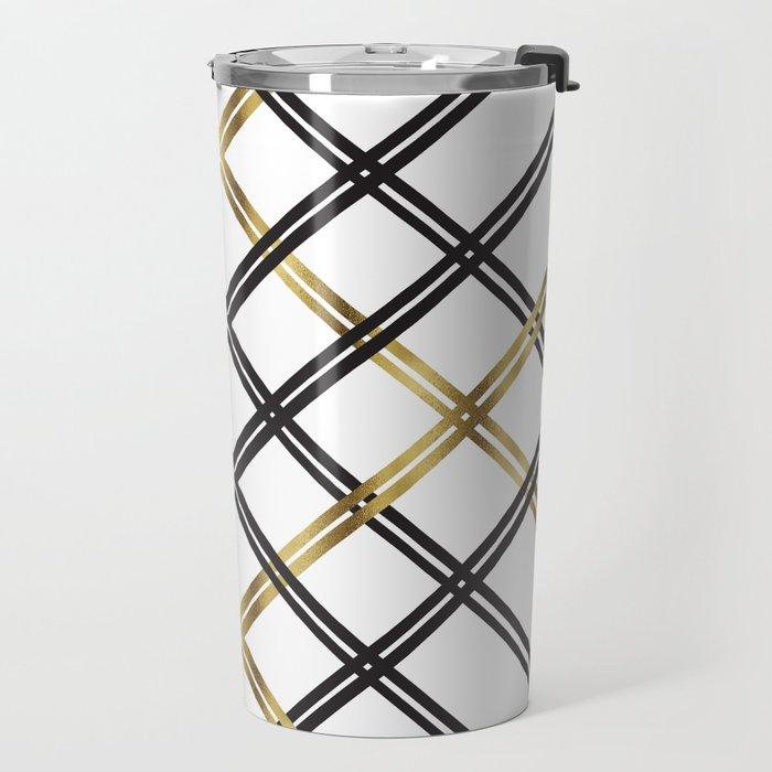 Crosshatch in Gold Travel Mug