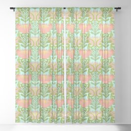 King Protea Flower Pattern - Turquoise Sheer Curtain