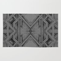 gray pattern Area & Throw Rugs featuring Emerge - Gray/Black Pattern by MB4 Studio