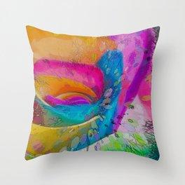 MOLECULAR RAINBOW ROSE ABSTRACT ART Throw Pillow