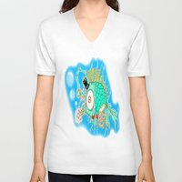steam punk V-neck T-shirts featuring Whimsical Steam Punk Fish by J&C Creations
