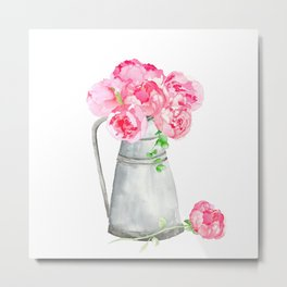 Watercolor peonies in a pitcher Metal Print
