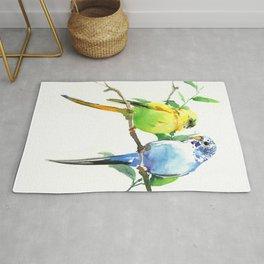 Budgies, Animal art, love, two birds bird artwork, bird pet Rug