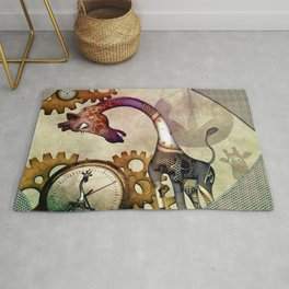 Funny giraffe, steampunk with clocks and gears Rug