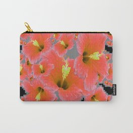 BLACK-GREY CORAL COLOR HIBISCUS ART Carry-All Pouch