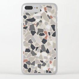 Terrazo Texture - Gray and orange pattern Clear iPhone Case