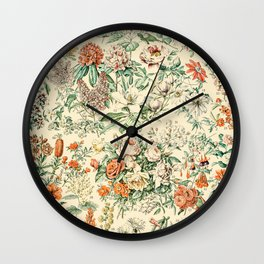 Wildflowers and Roses // Fleurs III by Adolphe Millot XL 19th Century Science Textbook Artwork Wall Clock