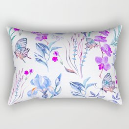 Modern purple blue watercolor hand painted orquid butterfly Rectangular Pillow