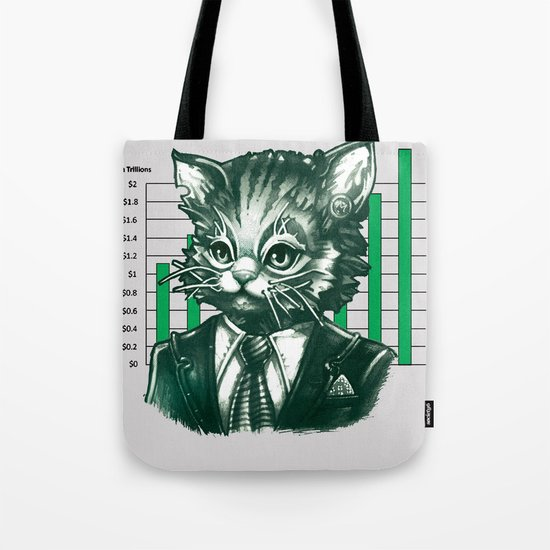 Blue Tooth Cat Deals in Trillions Tote Bag