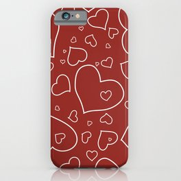 Red and White Hand Drawn Hearts Pattern iPhone Case