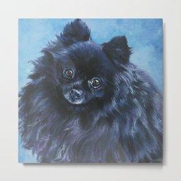 black POMERANIAN dog art portrait from an original painting by L.A.Shepard Metal Print