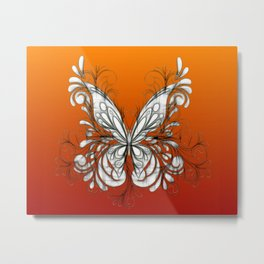 Ornate Butterfly Sketch Art Metal Print