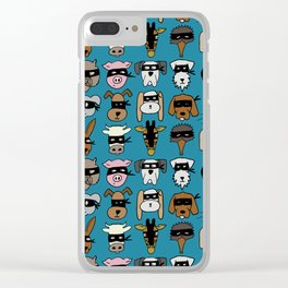 Ninja Animal Gang - Blue Clear iPhone Case
