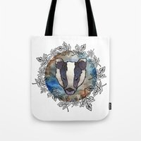 badger Tote Bags featuring Badger by amyrose