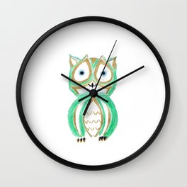 Owl Fun #6 #mint #green #gold #drawing #decor #art #society6 Wall Clock